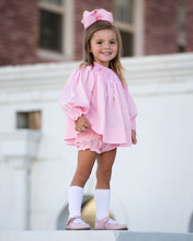 Load image into Gallery viewer, Pink Honeycomb Smocked Bloomer Set