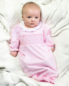 Smocked Baby Gown for Girl in Pale Pink Knit
