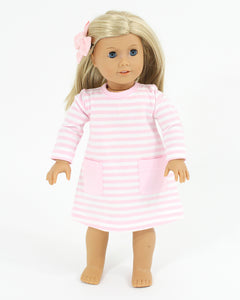 Pink Striped Knit Play Dress for Doll