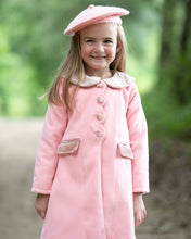Load image into Gallery viewer, Pink Wool Coat With Velvet Trim
