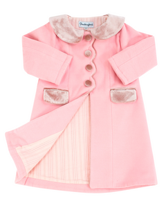 Pink Wool Coat With Velvet Trim