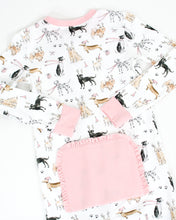 Load image into Gallery viewer, Polar Pups Pink Pima Cotton Zip Up Pajamas