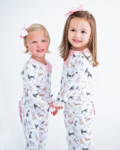 Polar Pups Pink Pima Cotton Zip Up Pajamas