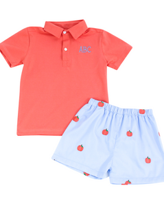 Pumpkin Embroidered Boy Shorts Set
