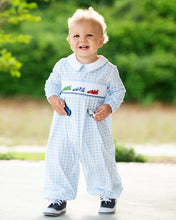 Load image into Gallery viewer, Race Car Smocked Blue Check Knit Longall