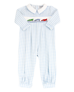 Race Car Smocked Blue Check Knit Longall
