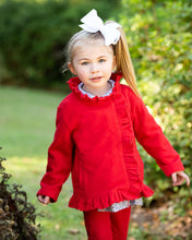 Load image into Gallery viewer, Red Fleece Coat With Ruffle