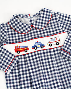 Rescue Vehicles Smocked Knit Longall