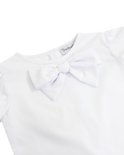 Load image into Gallery viewer, Bow Blouse in White with Short Sleeves