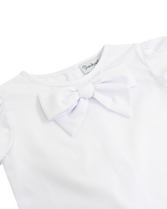 Bow Blouse in White with Short Sleeves