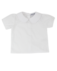 Girls Peter Pan Collar Short Sleeve Shirt
