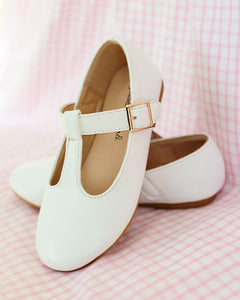 White Vegan Leather T-Strap Shoes