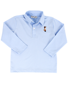 Thanksgiving Embroidered Long Sleeve Polo Shirt
