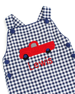 Truck Applique Navy Gingham Knit Longall