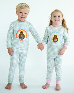 Turkey Applique Gingham Knit Girl Pajamas