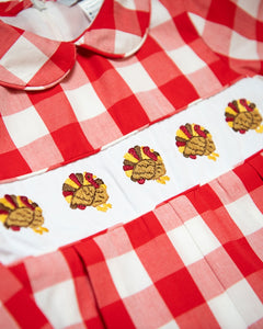 Turkeys Embroidered Buffalo Check Bloomer Set