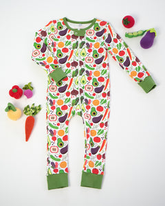 Veg Out Pima Cotton Zip Up Pajama