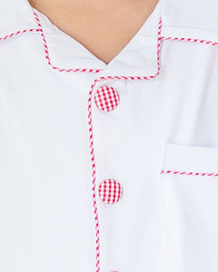 White Knit Loungewear with Red Gingham Trim