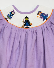 Load image into Gallery viewer, Witches Smocked Halloween Dress