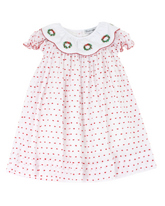 Wreath Embroidered Red Swiss Dot Dress