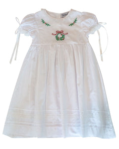 Wreath And Holly Shadow Embroidered Dress