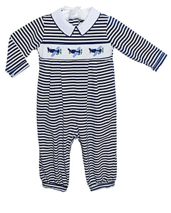 Airplanes Smocked Striped Knit Longall