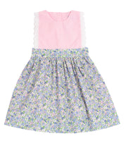 Load image into Gallery viewer, Blue Floral and Pink Gingham Olivia Dress with Lace Trim