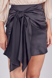 Tie Front Satin Mini Skirt - Black
