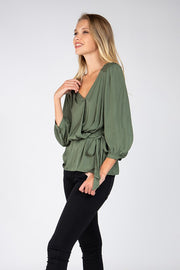 Olive  Peplum Top with Wrap Belt