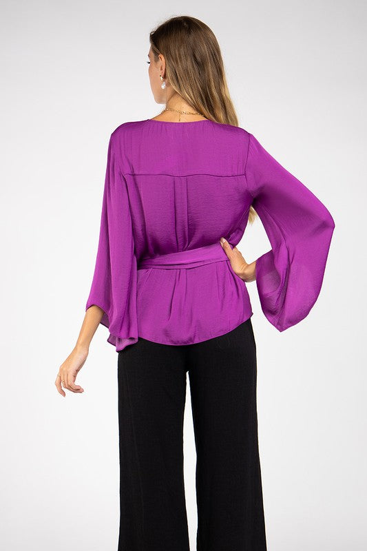 Magenta Satin Wrap Top with Bell Sleeves
