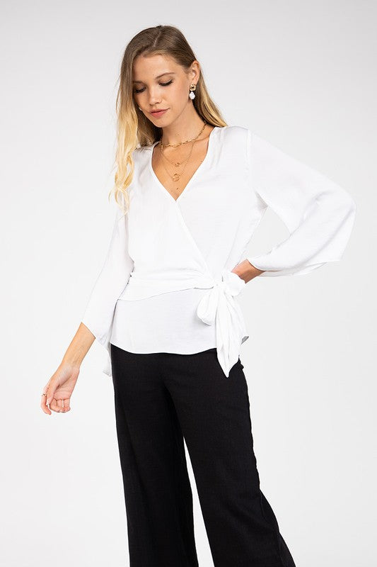 White Front Tie Blouse with Bell Sleeves