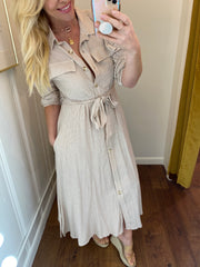 Button Down Midi Shirt Dress
