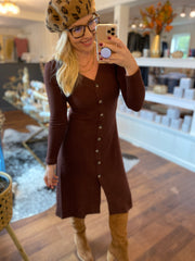 Brown Button Sweater Dress