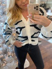 Black & White Zebra Cardigan Sweater