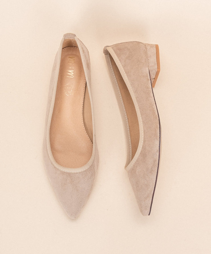 Pointed Suede Flats - Beige
