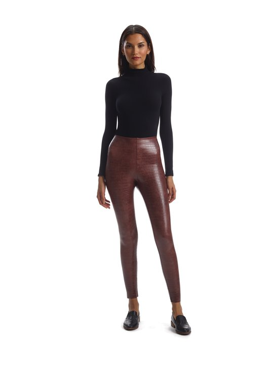 Faux Croc Leggings  - BROWN