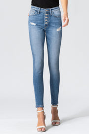 Haylie High Rise Button Front Skinny Jean