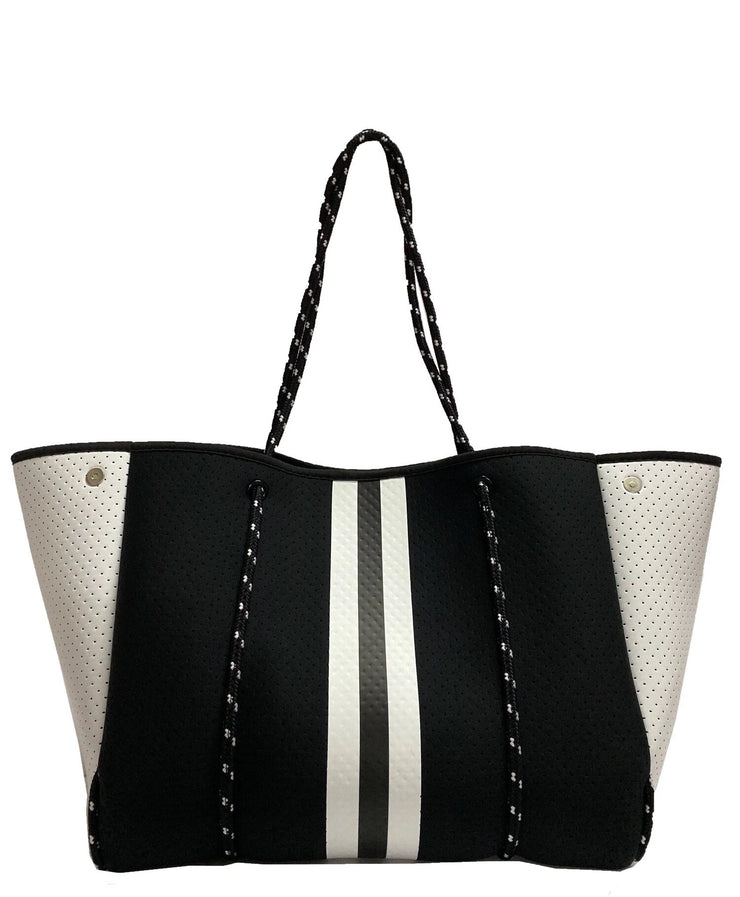 Black White  Neoprene Tote