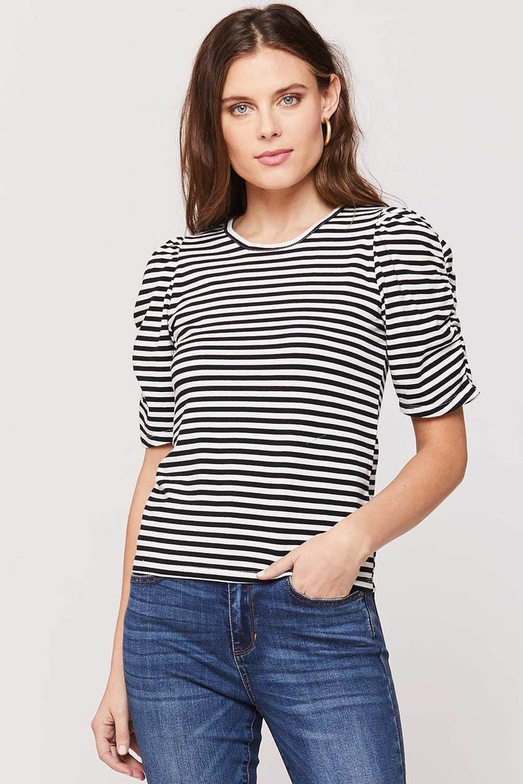 Black and White Stripped Puffed Sleeve Top