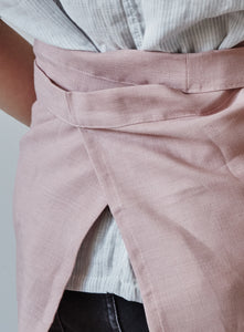 Back of our dusty rose linen half apron