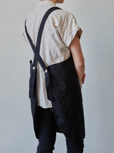 Load image into Gallery viewer, Back of our black linen apron with coconut buttons