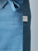 Load image into Gallery viewer, Blue linen half apron pocket details