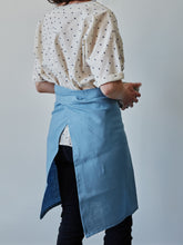 Load image into Gallery viewer, Back of our blue linen half apron