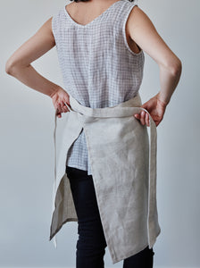 Back of our oat linen half apron