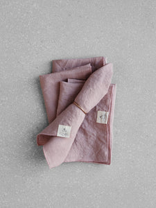 Dusty rose linen napkin set