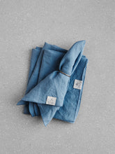 Load image into Gallery viewer, Blue linen napkin set