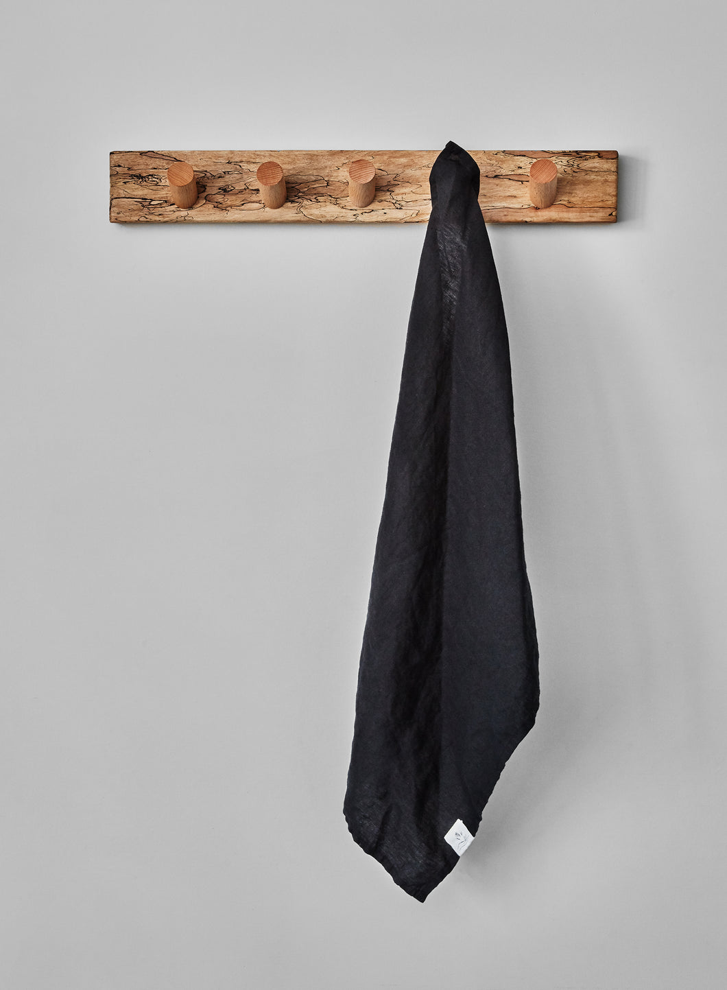 Black linen tea towel