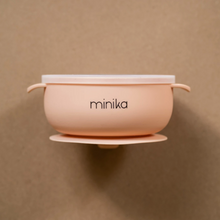 Load image into Gallery viewer, Minica blush colour silicone bowl with lids