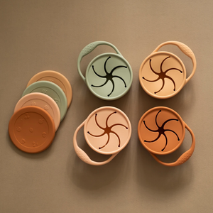 top view of snack cups with different lids