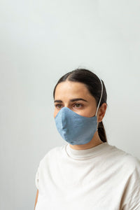 Linen Face Masks - Blue